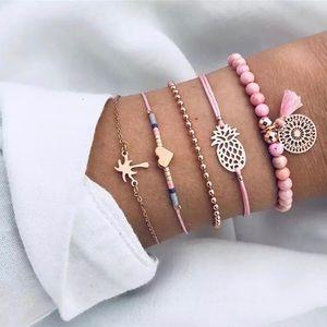 Round Stone Tassel Bracelet set 💗